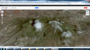 Green Mountain on Ascension Island.  Google Earth.