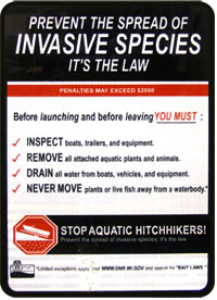 Invasive species sign used by Washburn County, Wisconsin